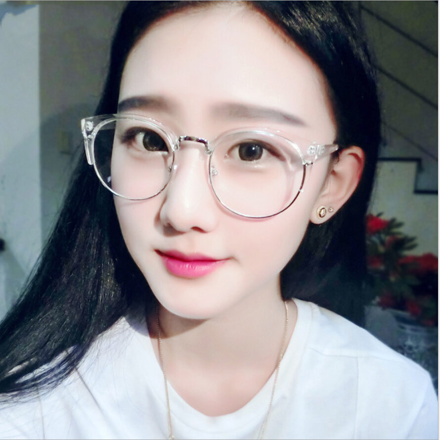 Case Free Retro Round Transparent Glasses Frame For Women ...