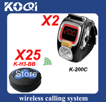 a Guest Paging system set with 25pcs table bell H3-BB and 2 watch receiver K-200C