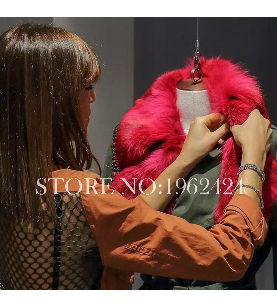 HOT2016 new fashion summer women high quality red wolf fur grass fur collar and long sections army green windbreaker personality