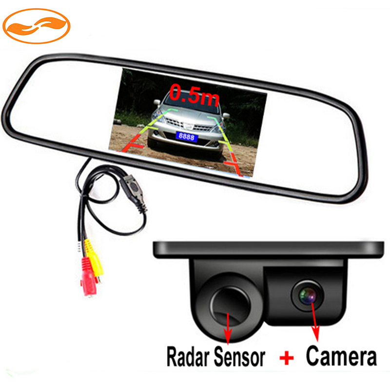 Car Rearview Reversing CCD Camera with Parking Sensor + 4.3 Inch Car Universal Rearview Reverse Mirror Monitor(China (Mainland))