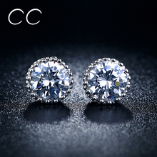 Fashion jewelry CC zirconia diamond round stud earrings for women white gold plated brincos earrings for wedding vintage E001(China (Mainland))