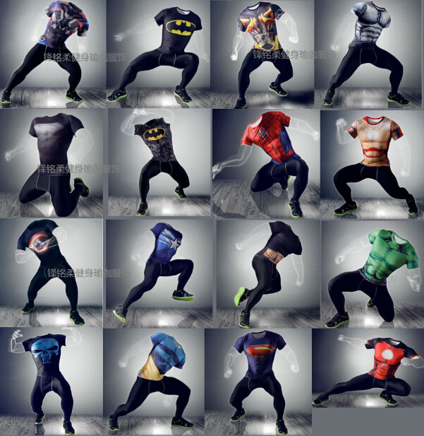 New Men bodybuilding marvel captain america/superman/batman/punisher compression t shirt men thermal under tees fitness tights(China (Mainland))