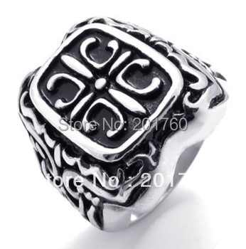 Punk rock accessories Stainless steel Casting Classical fancy cross ring men punk Band Rings 75507