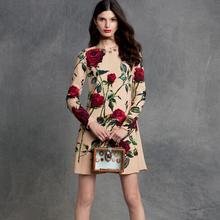 Rose print women ladies fashion designer brand quality women formal slim straight dress party wear RD1732(China (Mainland))