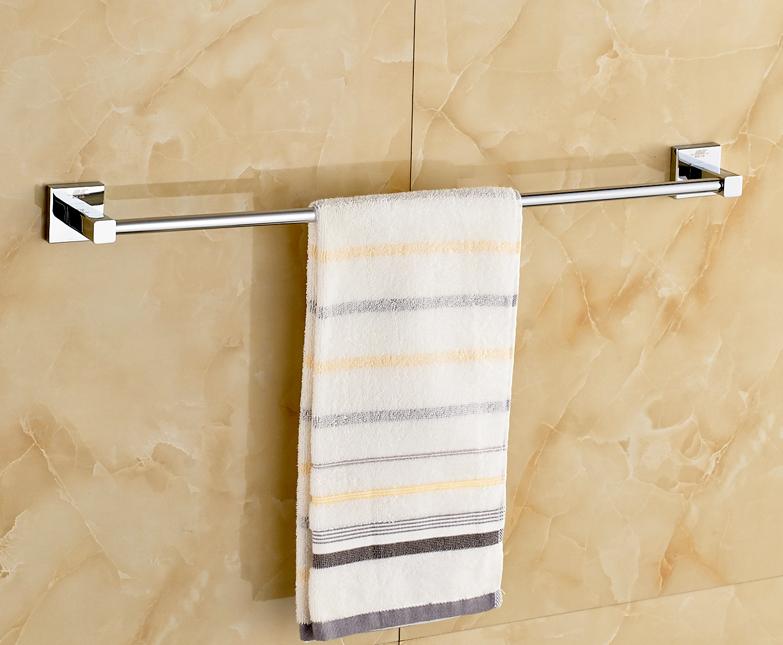 Chrome Polished Bathroom Towel Rail Wall Mounted Single Towel Bar Rack In Towel Racks From Home