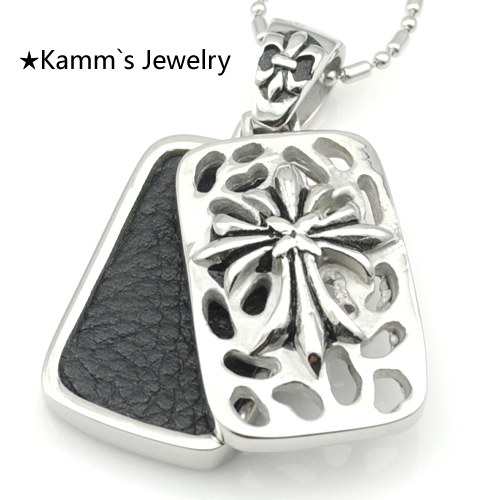 2014 High Quality Wholesale Men's floating locket skyrim Pendant Necklace 316L Stainless Steel fleur de lis Free Shipping KP1241(China (Mainland))