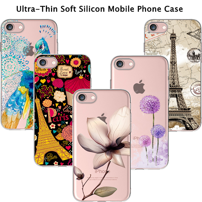 TPU Phone Cover Cases For Apple iPhone 4 4S 5 5S SE 5C 6 6S 6Plus 6S + Case Ultra Thin Soft TPU Silicone Flowers Eiffel Tower(China (Mainland))