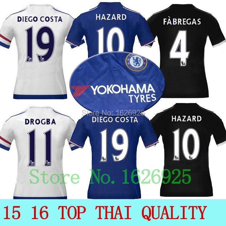 15 16 Thai qualtiy Chelsea soccer jerseys 2016 FABREGAS DIEGO COSTA Hazard Torres Oscar Chelsea jersey shirts football kits(China (Mainland))
