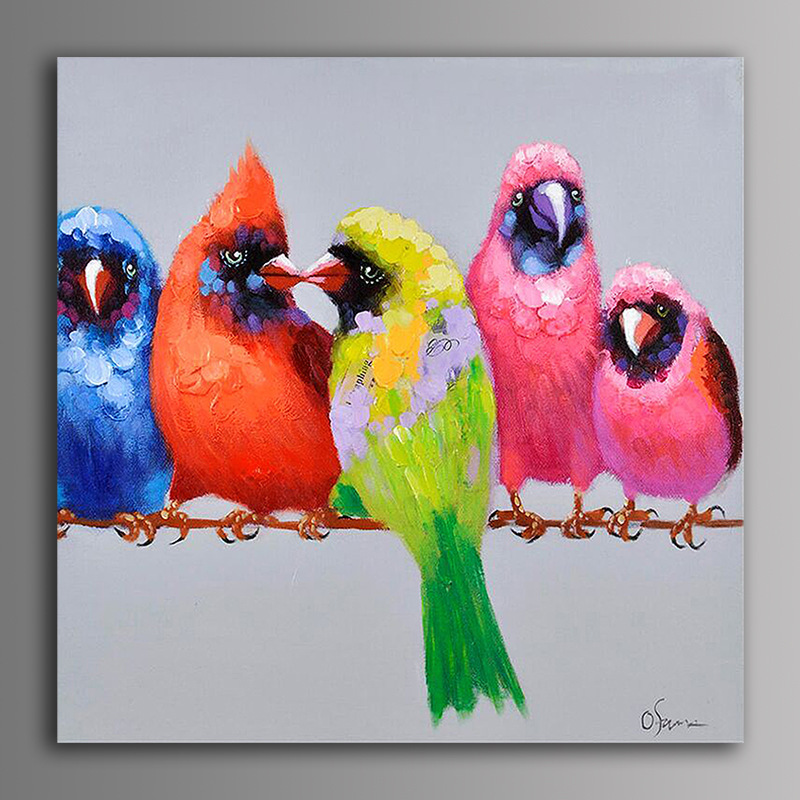 Free Shipping Lovely Parrot birds hand painted canvas oil paintings on canvas home decor wall art paintings no frame(China (Mainland))