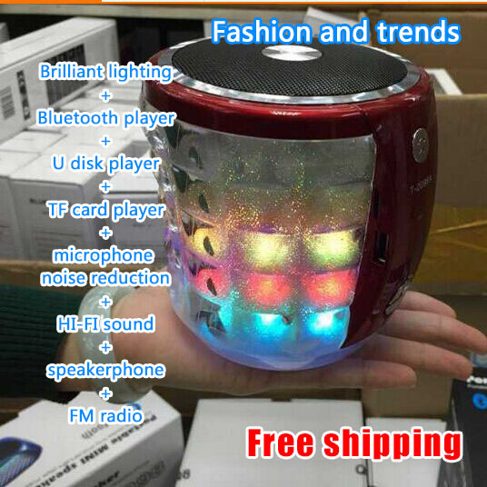 E4U Free shipping 2014 New Stage lights Bluetooth speaker TF card you can connect headphones Portable speakers MP3 FM radio(China (Mainland))
