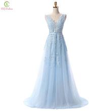 SSYFashion Venda Quente Doce Laço Luz Azul Com Decote Em V Laço Longo Festa À Noite Vestir O Vestido de Noiva Sexy Backless Prom Dresses Personalizado(China)