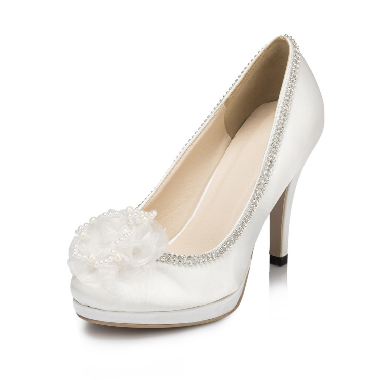 Custom Handmade Beautiful White/Ivory Lace Pumps High Heel Bridal Shoes with Flowers Platform Party Shoes EU33-41 706