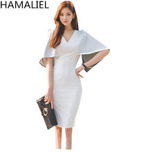 Buy Summer Dress 2017 Women Fashion Sheath Chiffon Batwing Sleeve Sexy Slim Office OL V-Neck Bodycon Bandage Pencil Party Dress for $24.13 in AliExpress store