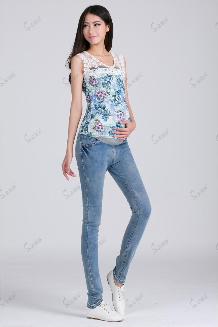 3XL Plus Size Elastic Waist 100% Cotton Maternity Jeans ...