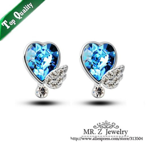 New Arrivals Fashion Women Jewellery 2015 Crystal Angel Wings Heart Stud Earring Free Shipping(China (Mainland))