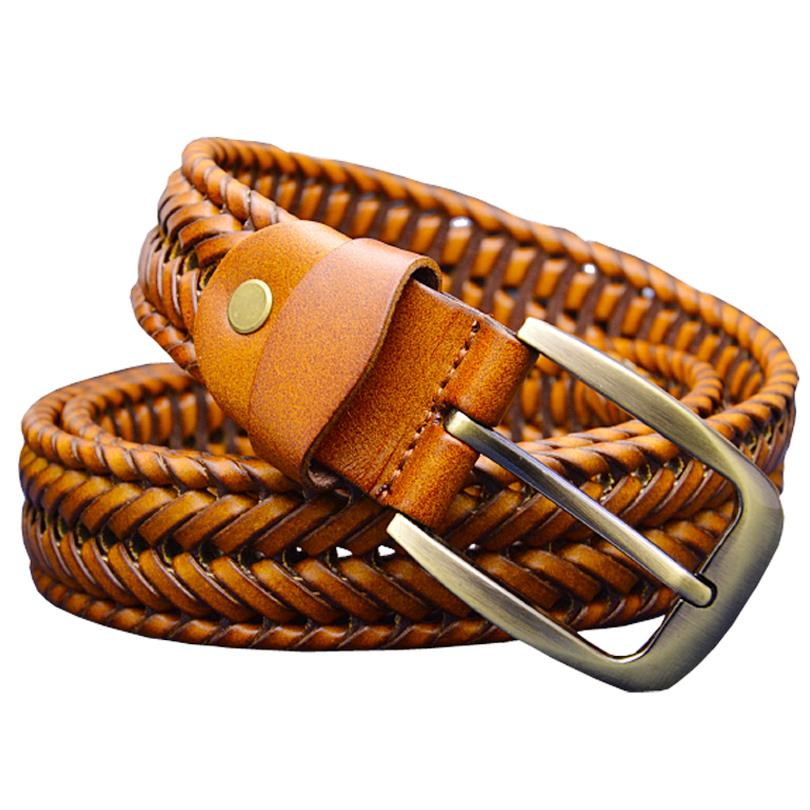 Genuine leather belt male Braided strap for man Fashion Designer mens belts luxury 2015 High quality