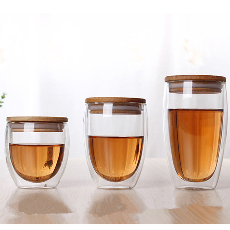 double glass cup coffee Mugs Tea Cup transparent heat-resistant glass cups with bamboo insulation cup lid creative wholesale(China (Mainland))
