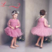 2016 New Spring Autumn Princess Girls Kids Dress Clothes Knee length Long Sleeve Chiffon Ball Gown