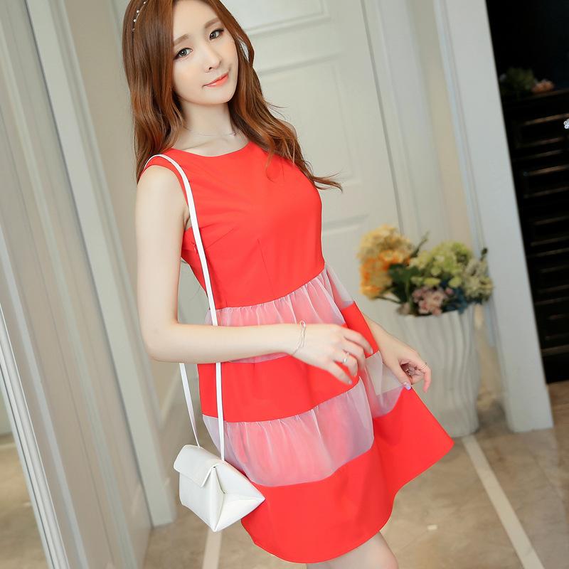 2016 Summer (Red And Black) Sleeveless Dress Organza Stitching Was Thin Fashion Womens Sexy Dresses Party Night Club Dress~KKK24(China (Mainland))