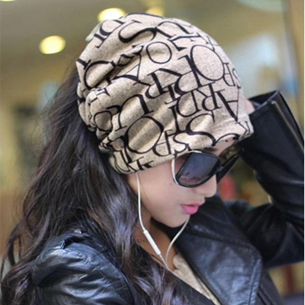 Fashion Korean Women Lady Beanie Scarf Hat Skull Cap Headband Hair Bands 4Colors(China (Mainland))