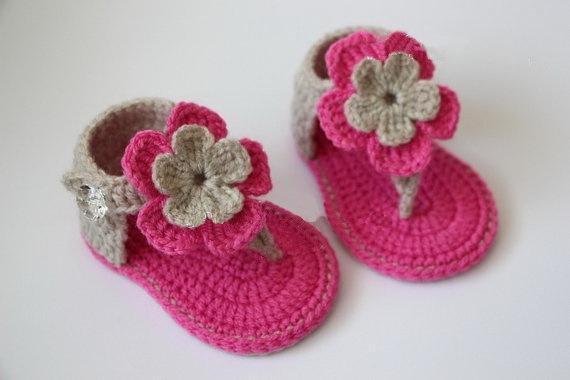 Бесплатная доставка, светло-коричневый, розовый, фуксия младенца Вязания Крючком ...