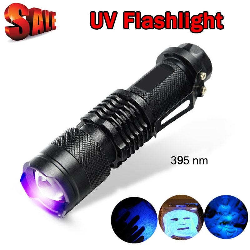 UV Light 395nm Powerful LED Flashlight Tactical Flashlight UV Flashlight Purple Violet Light UV torch Lamp free shipping ZK93(China (Mainland))