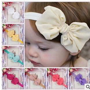 1pc New Style Baby Girls hair accessories newborn baby chiffon bow Headband Flowers Hairwear 14colors