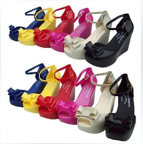 7 colors 2015 best selling bow jelly sandal shoes Melissa brand plastic wedge sandals - Shenzhen Q Star Technology Co., Ltd. store