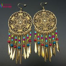 wholesale Women's fashion Bohemian Beaded Fringes Tassel  Vintage Hollow Flower Big Long Statement Earrings Brincos Grandes(China (Mainland))