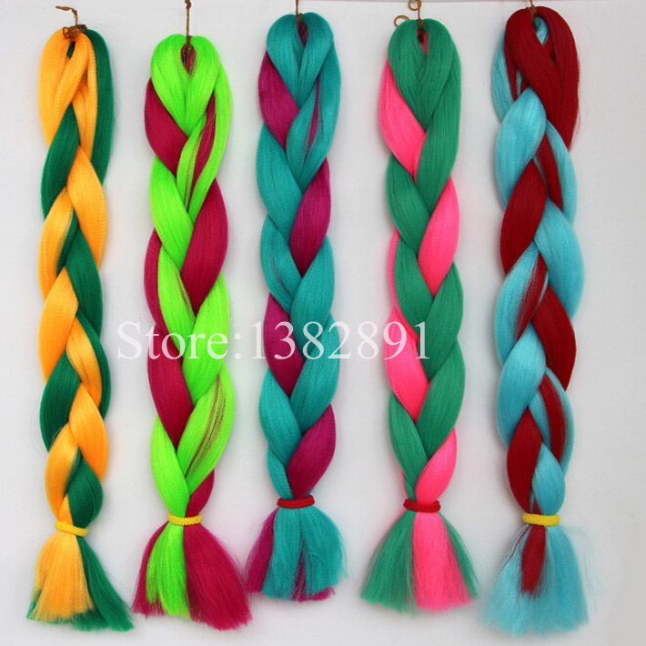 Expression 100%Kanekalon Braiding Hair Natural Synthetic Bulk Hair For Braiding 5Pcs/Lot Pink&Green&Yellow Multicolor Available(China (Mainland))