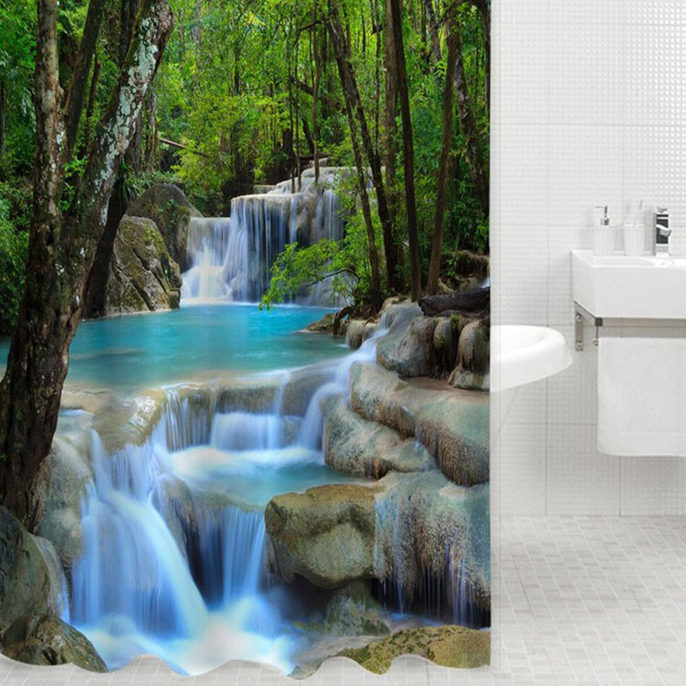 High Quality 3D Waterfalls Nature Scenery Shower Curtain Bathroom Products Fabric Shower Curtain 180cm*200cm (L*W)(China (Mainland))