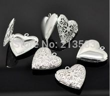 Wholesale Silver Plated  Heart Shape Photo Frame Locket Pendants Silver-Plated Necklace Fashion DIY Jewelry  Accessories(China (Mainland))