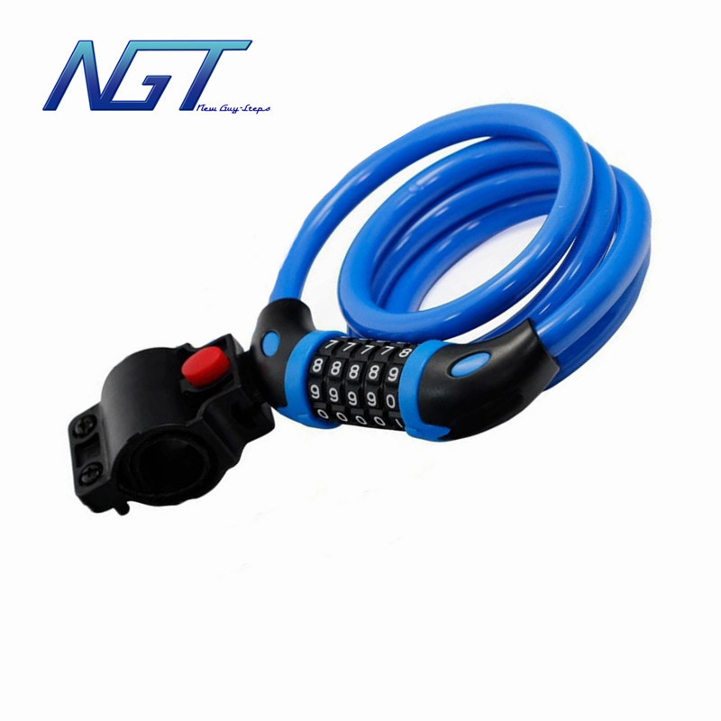 5 Colors High Quality Length=120cm Steel Wire Rope Bicycle Lock & Bike Lock Cable For Mountain Bike(China (Mainland))