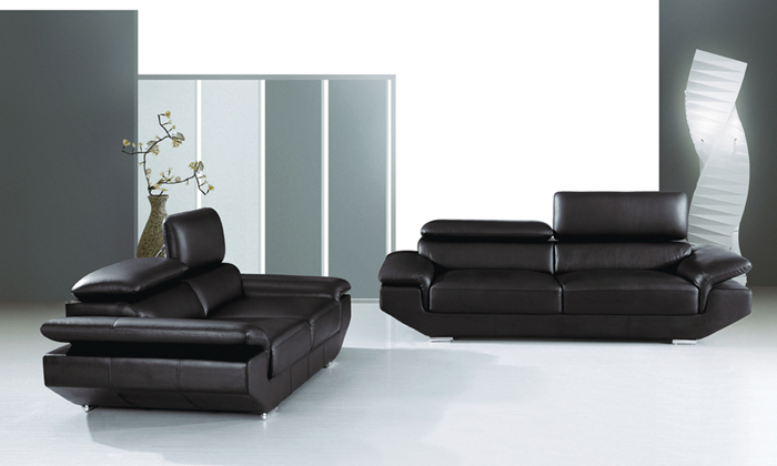 Free Shipping 2013 Modern Design High Black Top Grain Cattle Leather sofa set adjusted headrest Classic 123 Sofa with Chairs(China (Mainland))
