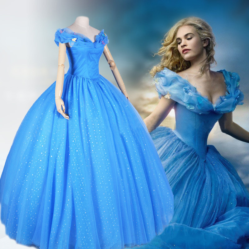 New Movie Cinderella Princess 2015 Cinderella Dress For Adult Women Blue Deluxe Cinderella