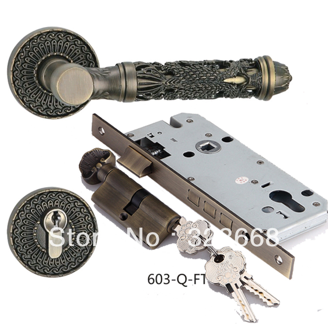 European style hollow out handle door lock classic zinc alloy Antique brown fission lock New fashion type handle lockset(China (Mainland))