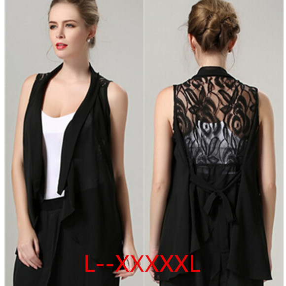 PLUS SIZE 2015 Fashion Women Lace Long Vest Waistcoat Turn-down Collar Chiffon Sleeveless Vests balck Gilet Femme Colete SP228(China (Mainland))