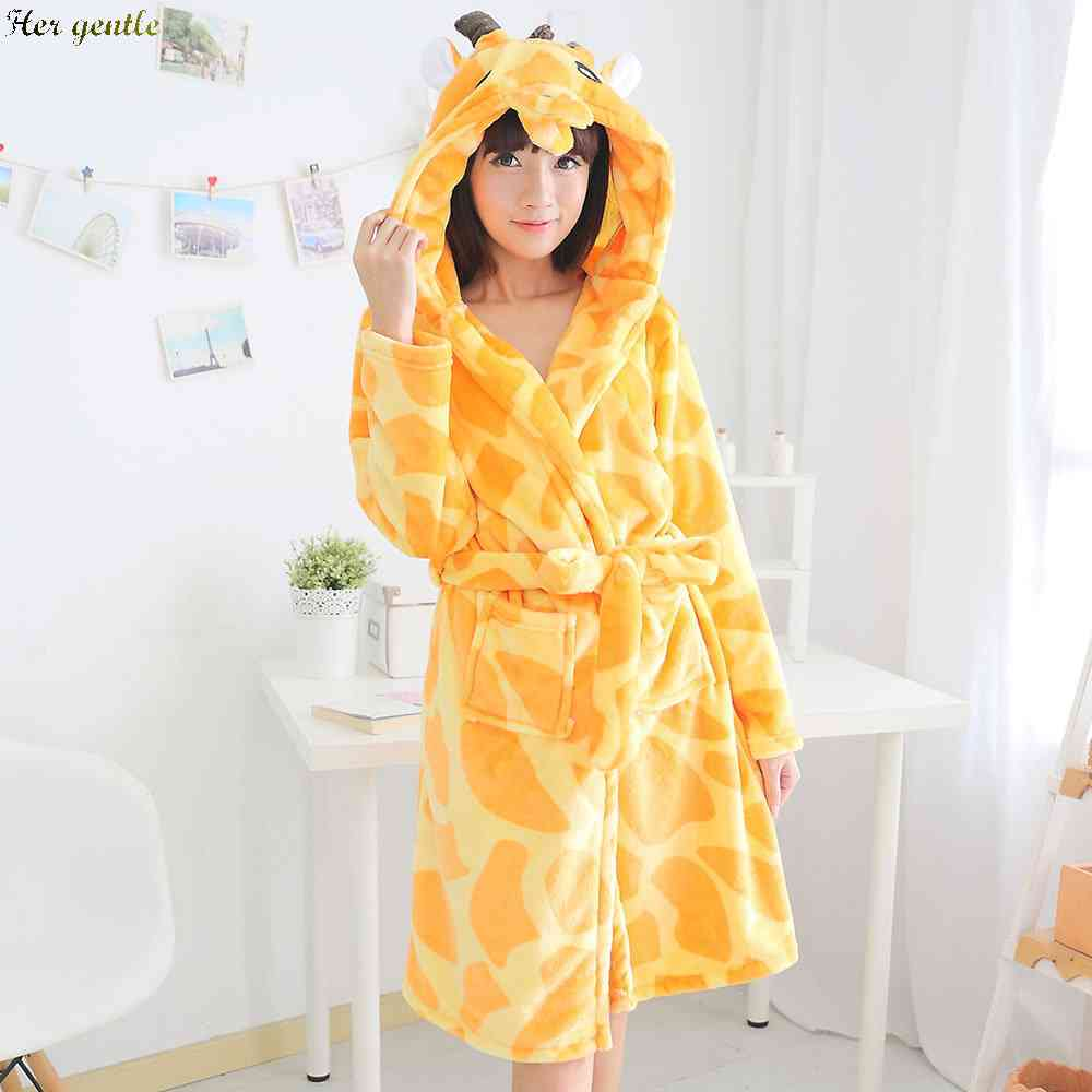 Free Shipping giraffe hooded flannel Nightgowns for men and women clothing cartoon cute couple bathrobes long sleeve 1433820440(China (Mainland))