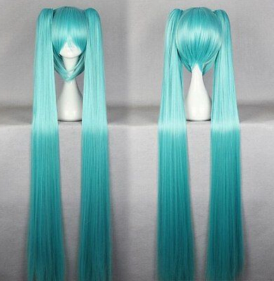 Free Shipping Super Quality 130cm Long Blue Ponytails Cosplay Vocaloid Miku Wig(China (Mainland))