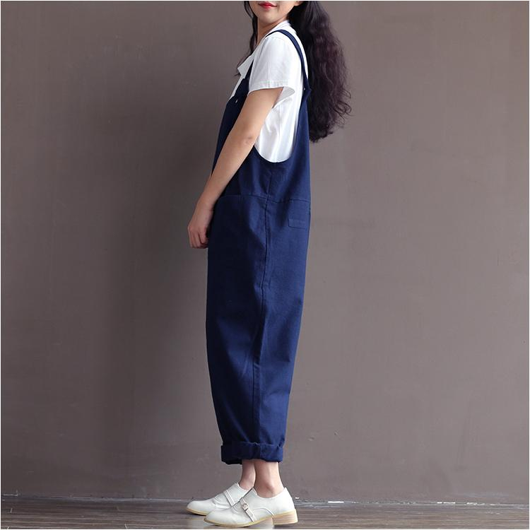 Women casual loose jumpsuits plus size overalls Literary ladies strap pants preppy style mori girl cotton