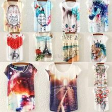 2015 Womens Tops Fashion 2015 Multi-Style Print Casual Women Short Sleeve Loose Casual T-shirt Tops(China (Mainland))