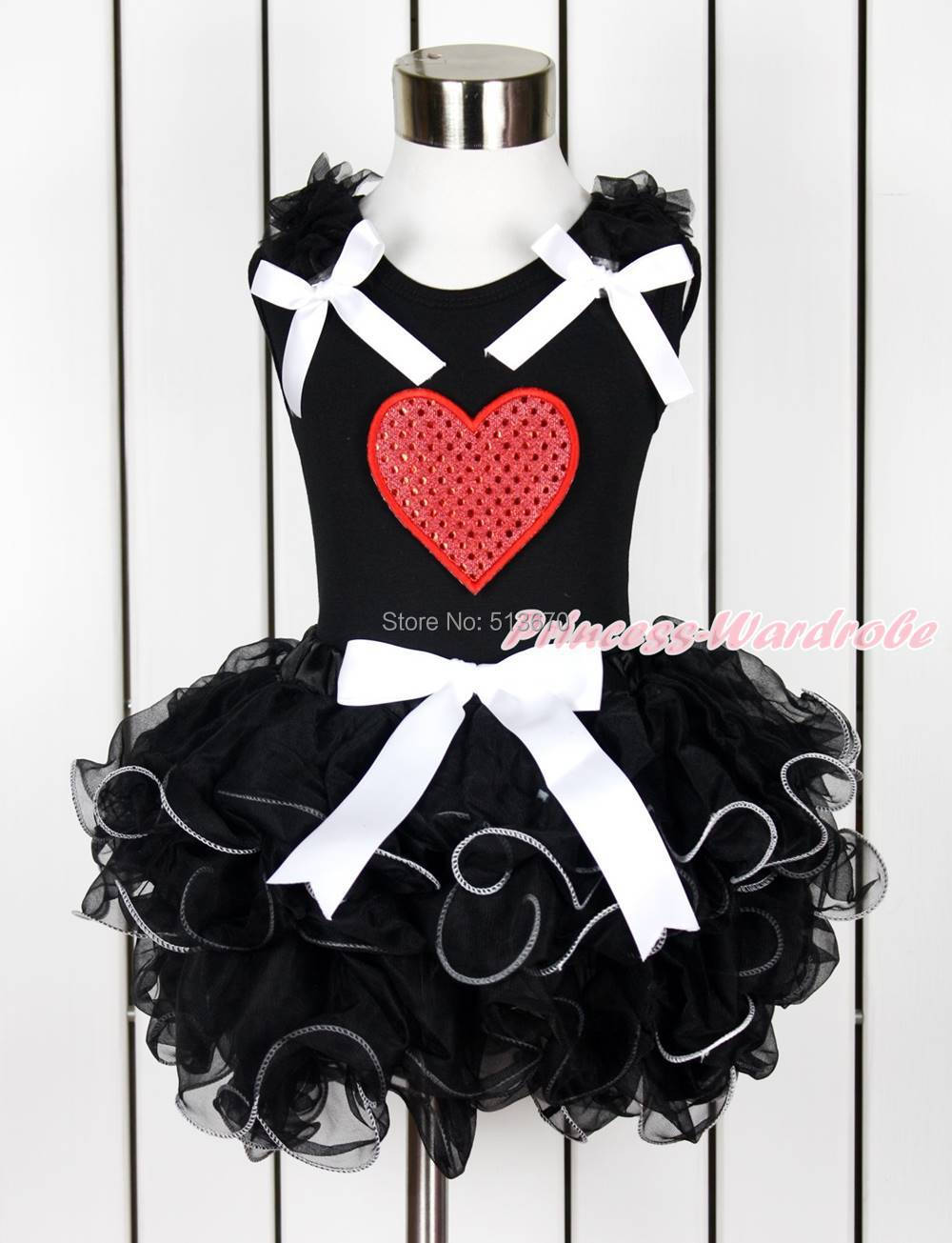 Valentine Sparkle Hot Red Heart Baby Girl Black Top Black Petal Pettiskirt NB-8Y MAPSA0128(Hong Kong)