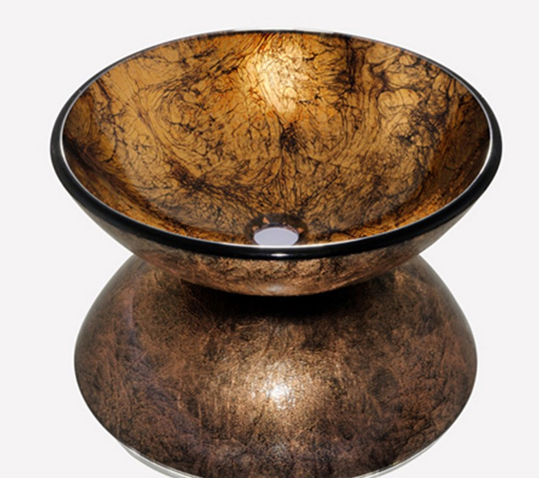 4272 2 Brown Colorful Painting Construction Real Estate Bathroom Round Art Washbasin Tempered Glass Vessel Sink