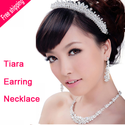 Free shipping Luxurious Crystal Bridal jewelry sets Silver plated wedding jewelry sets for bride wedding accessories wholesale