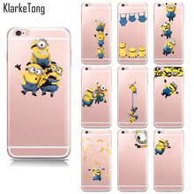 Buy New Cute Cartoon Despicable 2 Yellow Minions Case iPhone 6 6s 5 5s se 7 7Plus transparent Silicone cell phone back cover for $2.59 in AliExpress store