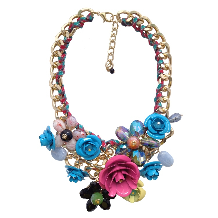 wholesale chain chunky metal flower choker statement