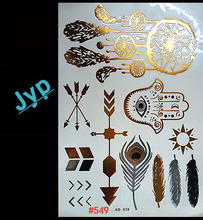 Free shopping Collection Gold Flash Tattoos Boho Temporary Jewelry Tattoos Buy This Metallic Jewelry Tattoo stickers