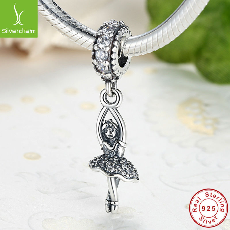 Hot Sale 925 Sterling Silver Ballerina Charm Fit Original Pandora Bracelet Pendant Authentic Women Jewelry(China (Mainland))