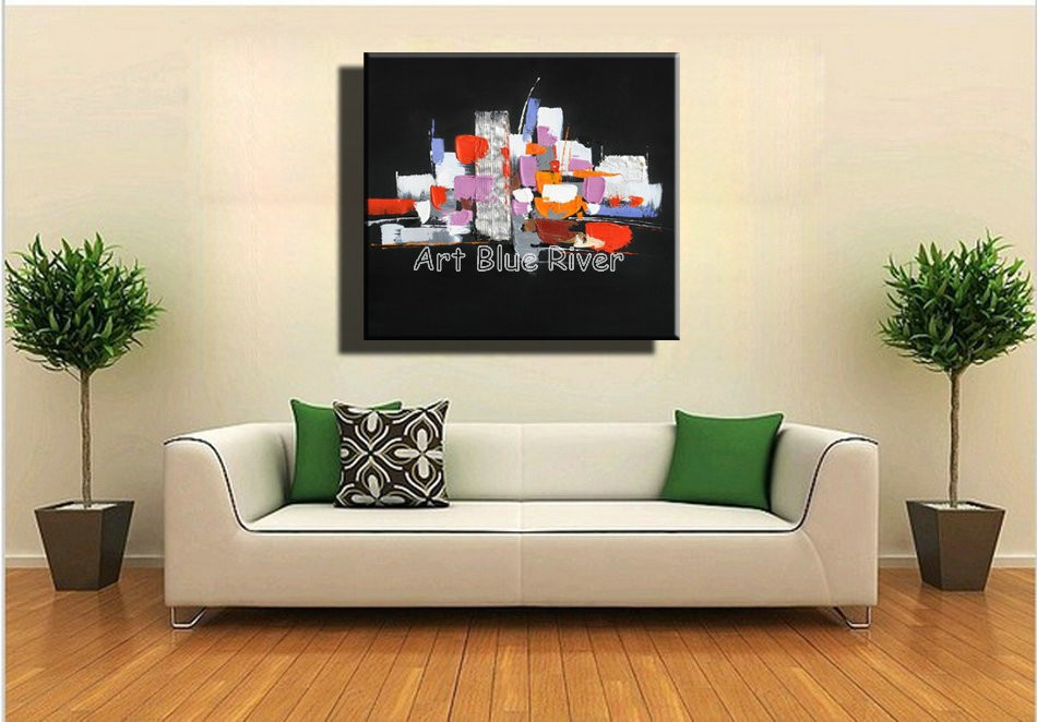 Buy Large Abstract black with knife paint modern wall art canvas handmade oil painting on canvas bedroom living room decoration cheap