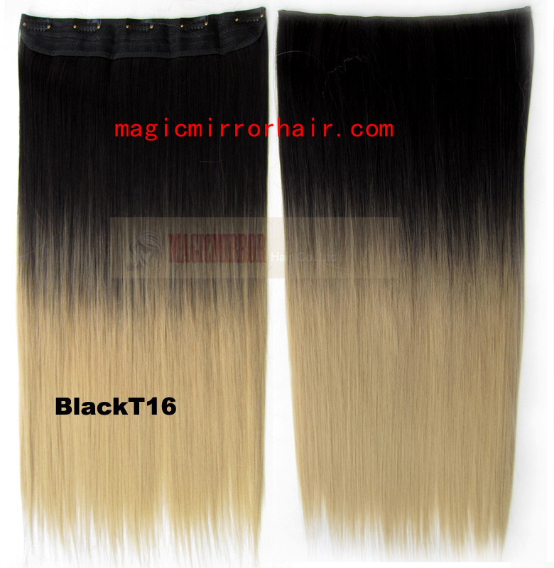 Ombre dip die clip in hair extensions black to brown shade hairstyle hairpieces color washlight straight Extension Hi-Q 130g/pc(China (Mainland))
